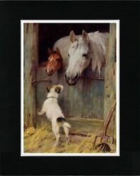 JACK RUSSELL FOX TERRIER AND HORSES VINTAGE STYLE DOG ART PRINT READY MATTED
