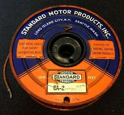 Vintage 1930s 40s Standard Motor Products Cloth Covered Auto Wire Partial Spool