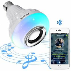 Texsens LED Light Bulb with Integrated Bluetooth Speaker, 6W E27 RGB Changing