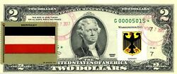 2 Dollars 1995 Star Stamp Cancel Flag And Coats Of The Arms Germany Value 500