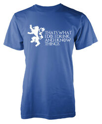 Game Of Thrones Lannister Thats What I Do I Drink And I Know Things Kids T Shirt