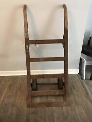 Antique Vintage Industrial Wood Cast Iron Dolly Hand Truck