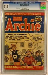 Archie Comics 56 Cgc 7.5 May/june 1952 High Grade Golden Age Ow/w. Nice