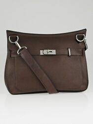 Hermes 34cm Chocolate Clemence Leather Palladium Plated Jypsiere Bag