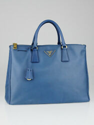 Prada Cobalto Saffiano Leather Lux Double Zip Large Tote Bag BN1786