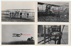 Rare Rppc Set Of 4 - Glenn Curtiss Biplane - Eugene Ely And Wife Real Photos 1910
