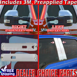 15-18 F150 Ext-cab Chrome Door Handle Covers W/sk+pillar Posts W/okp+mirrors Tow