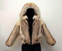 Men's Bomber Jacket Siberian Coyote Fur, Coyote, Leather, New