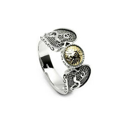 Celtic Warrior Ring Sterling Silver & 18K Bead Irish Made