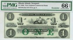 1860s Newportri 1 New England Obsolete Commerical Bank Note Pmg Gem Unc 66 Epq