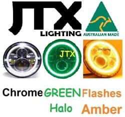 Jtx 7 Led Chrome Green Flash Amber Headlights Fit Land Rover Series 1 2 2a 3