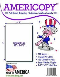 Full Sheet Labels 8.5 X 11 Shipping/address Labels 100 Sheets/pack Americopy