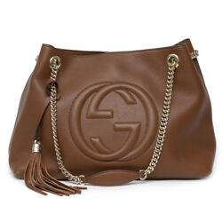 Gucci Soho Leather Shoulder Med Double Chain Bag Brown Cuir Gd Handbag Italy New