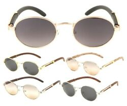 LUXE SCHOLAR OVAL LUXURY SUNGLASSES ROUND METAL FAUX WOOD FRAME HIP HOP VINTAGE $10.95