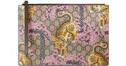 Gucci Bengal Pink Blooms Tiger Flower Mixed Clutch Zipper leather Bag New Italy
