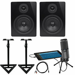 Audio Technica AT2020USBi Condenser USB Recording Microphone+(2) Monitors+Stands
