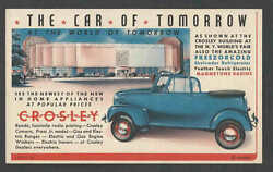 1939 Ppc Ny Worlds Fair Crosley Shows Autos Radios Ranges Ironers And More Mint