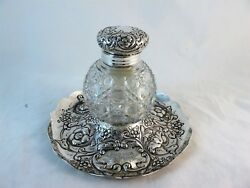 Large Sterling Silver Inkwell With Hobnail Glass, Hmss London 1891