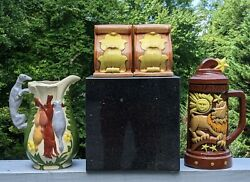 Local Nc Ceramic Greyhound Hunting Water Pitcher + Lion Beer Stein + Bookends
