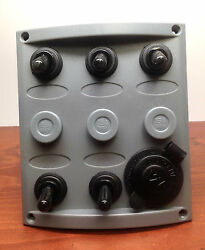 Marine Boat 5 Gang And Cigarette Socket Switch Panel One Momentary Switch