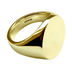 9ct Yellow Gold Oval Signet Ring Extra Large Heavy 20x16x3.2mm 375 Uk Hm Bespoke