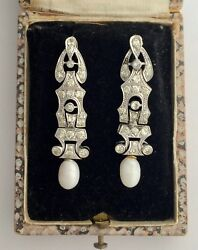 A Wonderful Pair Of Art Deco & Pearl Drop Earrings Circa 1930's