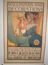 Original Vintage English Wallpaper And Decorations Poster Linen Backed