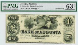 1860s Augusta, Georgia 1 Dollar Obsolete Bank Note Pmg Choice Uncirculated 63
