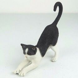 Black & White Cat Stretching - Figurine Miniature 6.5