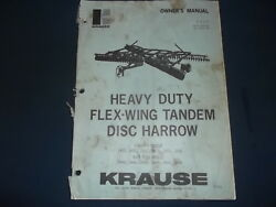 Krause Flex-wing Tandem Disc Harrow Operation And Maintenance Parts Manual Book