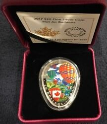2017 And039hot Air Balloonsand039 Shaped Colorized Proof 20 Silver Canada Coin