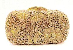 New Gold Champagne Handmade Austrian Crystal Clutch Women Floral Evening Bag