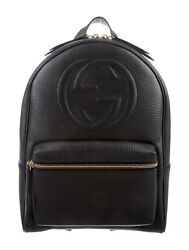 Gucci Soho Backpack Bag Leather Black Shoulder Italy Pebble Authentic Tags New 1