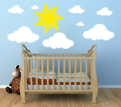 WHITE CLOUDS 20 23 WALL DECALS Sun Stickers Peel and Stick Nursery Kids Room