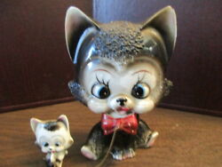 Vintage Ceramic Figurine - Black Cat with Red Bow & Kitten Chained - JAPAN