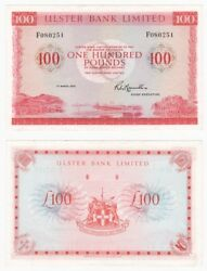 1977 Ulster Bank Ltd Andpound100 Banknote - Byb Ref Ni.853a - Ef.