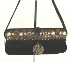 MARY FRANCES Black Gold Evening Small Shoulder Hand Bag PURSE Velour Clutch*1008