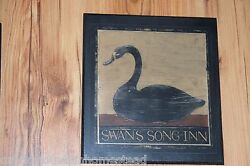 Country Lodge Wall Decor Sign Swan Song Inn Rustic Wood Folk Art Picture Plaque