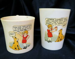Two 2 Vintage Little Orphan Annie Premiums Advertiding Ovaltine Mug And Tumbler