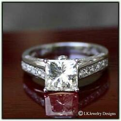 2.57 Ct Moissanite Princess Forever One Ghi Solitaire Pave Vintage Ring