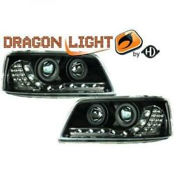Lhd Projector Headlights Pair Led Dragon Clear Black For Vw T5 Multivan 03-10