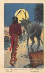 Native Americans Traveling Moon December Indian Round Oak Stove Postcard