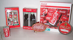 Coca-cola Coke Salt Shaker Set And Christmas Ornaments And 1000 Pc Puzzle
