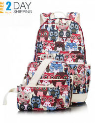 Cute Backpack for Girls Canvas Middle School Laptop Book Bag for Kids Rucksack
