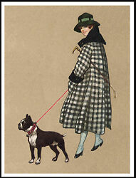 BOSTON TERRIER PRETTY LADY WALKING DOG LOVELY VINTAGE STYLE DOG PRINT POSTER
