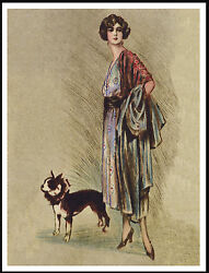 BOSTON TERRIER GLAMOROUS LADY AND DOG LOVELY VINTAGE STYLE DOG PRINT POSTER
