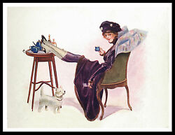 WESTIE TERRIER PRETTY LADY AND DOG LOVELY VINTAGE STYLE DOG PRINT POSTER