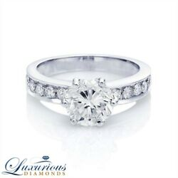 Wedding Diamond Ring F SI Round Cut 2.00 Carat Solitaire With Accents