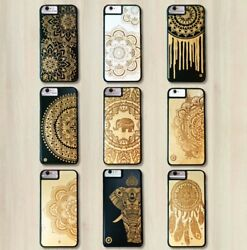 Luxury Wood/bamboo Mandala Smartphone Cases Covers For Iphone And Samsung + Gift