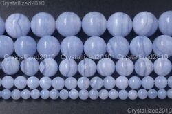 Aaa Natural Chalcedony Blue Lace Agate Purple Round Beads 4mm 6mm 8mm 10mm 15.5